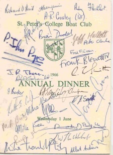 Menu for the Boat Club Annual Dinner 1966